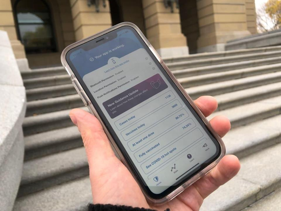 The Alberta government is contracted to pay for technical support and updates for the ABTraceTogether app, even though the government is no longer performing widespread contact tracing. (Janet French/CBC News - image credit)