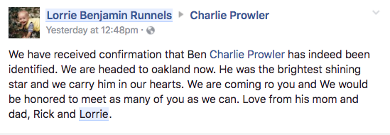 Screenshot of a Facebook post by Ben Runnel's mother, confirming that he was among those killed in the Oakland warehouse fire. (Lorrie Benjamin Runnels‎ via Facebook)
