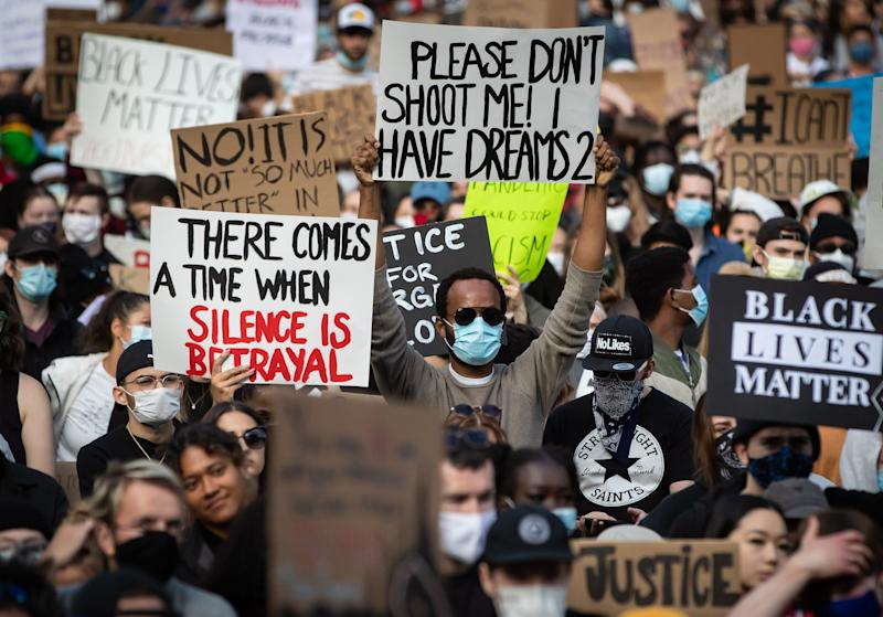 Thousands of people gather for a peaceful demonstration in support of George Floyd and Regis Korchinski-Paquet and protest against racism, injustice and police brutality, in Vancouver on May 31, 2020. (Photo: THE CANADIAN PRESS/Darryl Dyck)