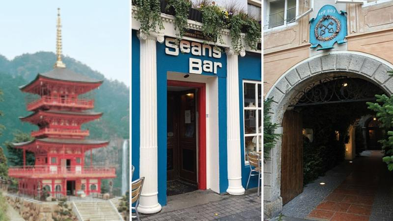 Seiganto Temple built by Kongo-Gumi in Japan, Sean's Bar in Ireland and St Peter Stifts Kulinarium in Austria.
