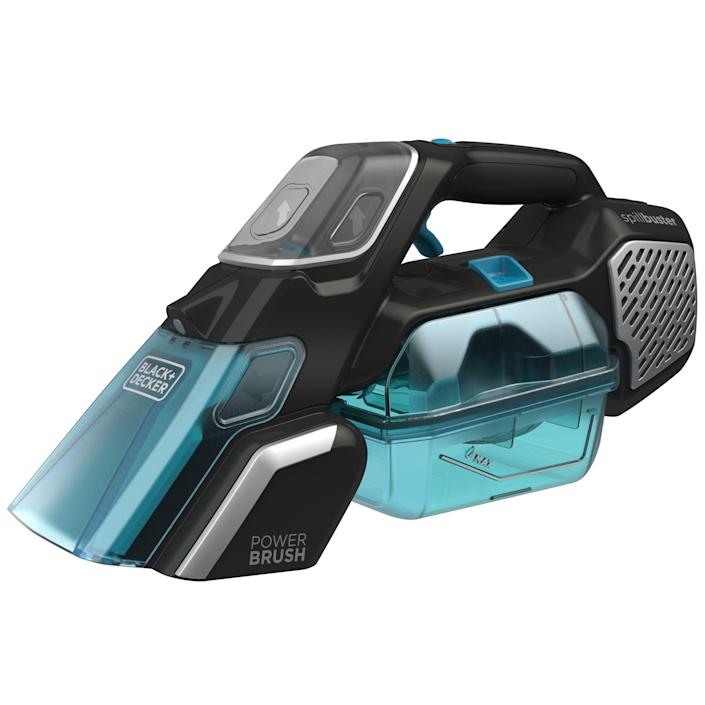 """<p><strong>BLACK+DECKER</strong></p><p>amazon.com</p><p><strong>$99.99</strong></p><p><a href=""""https://www.amazon.com/dp/B086T5FFZW?tag=syn-yahoo-20&ascsubtag=%5Bartid%7C10055.g.35471783%5Bsrc%7Cyahoo-us"""" rel=""""nofollow noopener"""" target=""""_blank"""" data-ylk=""""slk:Shop Now"""" class=""""link rapid-noclick-resp"""">Shop Now</a></p><p>Weighing in at only four pounds, this cordless Black+Decker's wide mouth and powered rotating brush (which can be switched off) deals with wet messes like juice, oatmeal or chunky soup. Unlike many others, it uses any brand of portable machine cleaning solution. It runs for 30 minutes per charge. </p><p>Chunky, wet messes are easy to pick up with this model. The tank and nozzle are top-rack dishwasher-safe, so it's easy to maintain. It was second only to the Rug Doctor in lifting mustard stains, and an indicator signals when it needs recharging.</p>"""