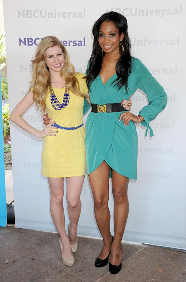 """Jennifer Knuth and Katrell Mendenhall (""""<a href=""""http://tv.yahoo.com/chicagolicious/show/48463"""">Chicagolicious</a>"""") arrive at NBC Universal's 2012 Summer Press Day at The Langham  Huntington Hotel and Spa on April 18, 2012 in Pasadena, California."""