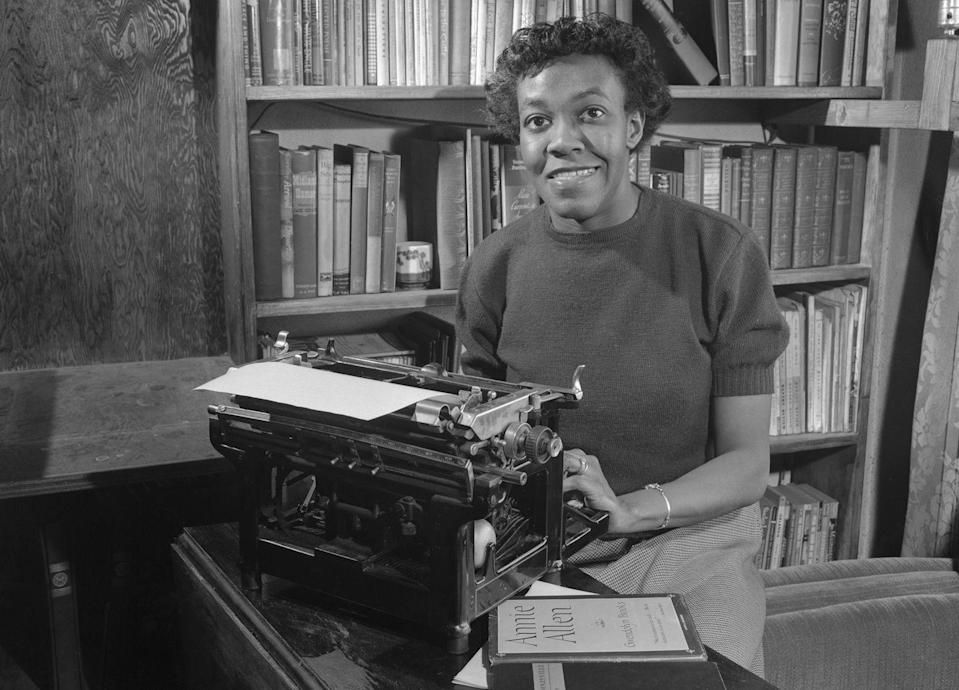 """<p>Today, Brooks is considered to be one of the most revered poets of the 20th century. She was the first Black author to <a href=""""https://www.pulitzer.org/winners/gwendolyn-brooks"""" rel=""""nofollow noopener"""" target=""""_blank"""" data-ylk=""""slk:win the Pulitzer Prize"""" class=""""link rapid-noclick-resp"""">win the Pulitzer Prize</a> in 1950 for <em><a href=""""https://www.amazon.com/Annie-Allen-Gwendolyn-Brooks/dp/B0007DTSEY/?tag=syn-yahoo-20&ascsubtag=%5Bartid%7C10063.g.35405218%5Bsrc%7Cyahoo-us"""" rel=""""nofollow noopener"""" target=""""_blank"""" data-ylk=""""slk:Annie Allen"""" class=""""link rapid-noclick-resp"""">Annie Allen</a>, </em>and she served as poetry consultant to the Library of Congress, becoming the first Black woman to hold that position. She was also the poet laureate of the State of Illinois, and many of her works reflected the political and social landscape of the 1960s, including the civil rights movement and the economic climate.</p>"""