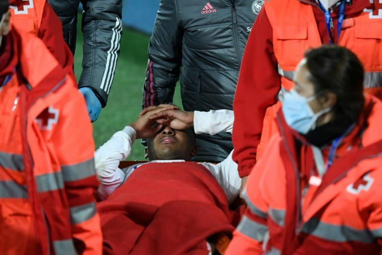 Real Madrid's Brazilian forward Rodrygo was stretchered off, apparently after suffering a hamstring injury