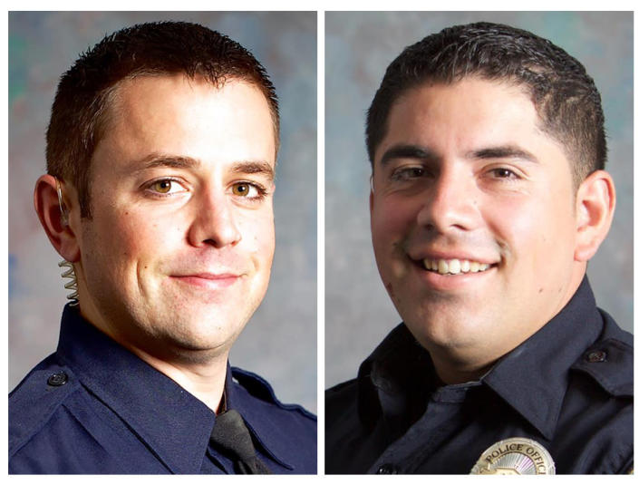 This combo of undated photos provided by the San Luis Obispo, Calif., Police Department shows San Luis Obispo Police Det. Luca Benedetti, left, and Det. Steve Orozco. Benedetti was shot and killed while serving a search warrant, Monday, May 10, 2021, in a shootout in the Central Coast city. Det. Orozco, who was injured in the shooting, was released from the hospital and is expected to recover from his wounds, authorities said Tuesday, May 11, 2021. (San Luis Obispo Police Department via AP)