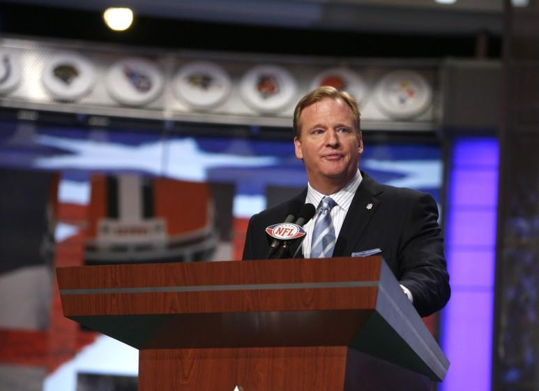 NFL commissioner Roger Goodell on stage at Radio City Music Hall during the 2008 NFL draft.