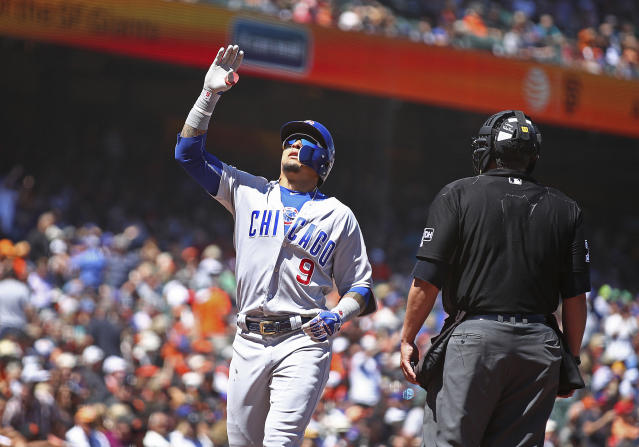 Chicago Cubs' Javier Baez celebrates after hitting a home run off San Francisco Giants' Tony Watson in the seventh inning of a baseball game Wednesday, July 11, 2018, in San Francisco. (AP Photo/Ben Margot)