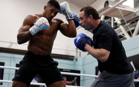 Anthony Joshua with his trainer, Rob McCracken - Credit: action images