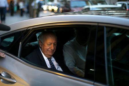 Former Chile's president and center-left presidential candidate Ricardo Lagos is seen after dropping out his presidential campaign, in Santiago