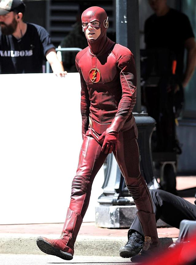 Grant Gustin wears his costume on <em>The Flash</em> set in Vancouver last month. (Photo: JKing/Backgrid USA)