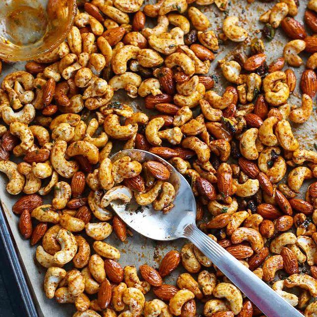 """<p>These <a href=""""http://therealfoodrds.com/chili-rosemary-roasted-nuts/"""" rel=""""nofollow noopener"""" target=""""_blank"""" data-ylk=""""slk:flavorful nuts"""" class=""""link rapid-noclick-resp"""">flavorful nuts</a> are irresistible thanks to their warm chili spice and bright rosemary and lime flavors—plus they're made without added oils or sweeteners. """"Because nuts can be easy to overdo, we recommend portioning out a small handful into a snack-size bag so you don't go overboard,"""" says Beacom.</p><p><a href=""""https://www.instagram.com/p/BP6KTZIDvH6/?utm_source=ig_embed&utm_campaign=loading"""" rel=""""nofollow noopener"""" target=""""_blank"""" data-ylk=""""slk:See the original post on Instagram"""" class=""""link rapid-noclick-resp"""">See the original post on Instagram</a></p>"""