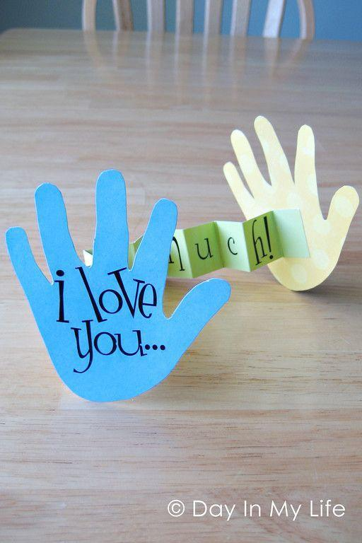 """<p>This one's definitely one of the easier crafts on this list! Kids trace their hands, and you help them cut out of a strip of paper to fold in accordion style. Add some letter stickers and you're done! </p><p><em><a href=""""https://tiffkeetch.blogspot.com/2010/06/this-much-card-and-kid-canvas.html"""" rel=""""nofollow noopener"""" target=""""_blank"""" data-ylk=""""slk:Get the tutorial from Day in my Life »"""" class=""""link rapid-noclick-resp"""">Get the tutorial from Day in my Life »</a></em> </p>"""