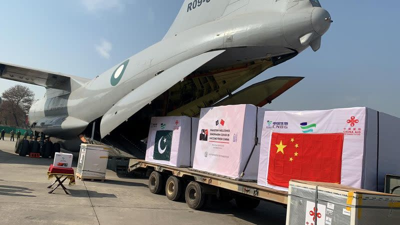 FILE PHOTO: A general view of the first consignment of the coronavirus disease (COVID-19) vaccines from China, seen offloading from a plane at the Noor Khan Airbase Rawalpindi