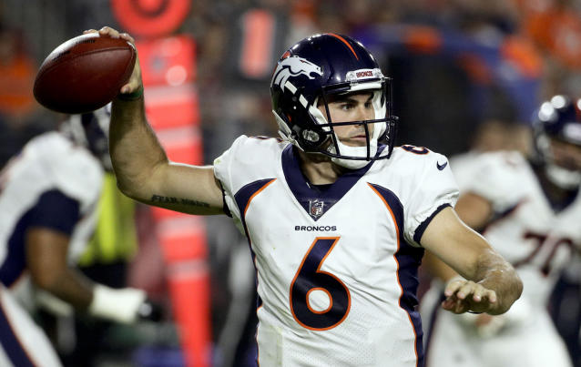 Denver Broncos quarterback Chad Kelly passes against the Denver Broncos during the first half of a preseason NFL football game Thursday, Aug. 30, 2018, in Glendale, Ariz. (AP Photo/Rick Scuteri)