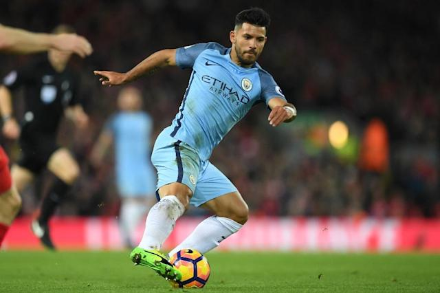 Manchester City's striker Sergio Aguero turns with the ball during the English Premier League football match between Liverpool and Manchester City at Anfield in Liverpool, north west England on December 31, 2016 (AFP Photo/Paul ELLIS)