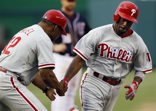 Rollins hits 2 HRs as Phillies beat Nationals 3-2