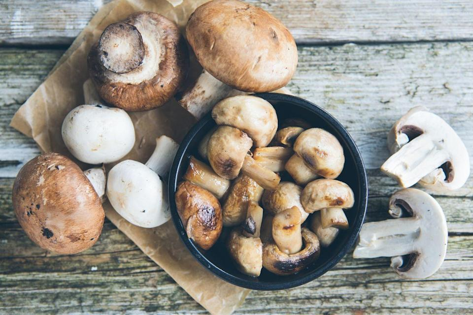 """<p>Mushrooms are a wonderful source of nutrients, particularly <a href=""""https://www.prevention.com/food-nutrition/a20437976/foods-high-in-vitamin-d/"""" rel=""""nofollow noopener"""" target=""""_blank"""" data-ylk=""""slk:vitamin D"""" class=""""link rapid-noclick-resp"""">vitamin D</a>, which help maintain healthy bones. Eating 'shrooms may also help <a href=""""https://www.prevention.com/health/memory/a22602794/mind-diet-foods-list/"""" rel=""""nofollow noopener"""" target=""""_blank"""" data-ylk=""""slk:keep your mind sharp"""" class=""""link rapid-noclick-resp"""">keep your mind sharp</a>. Whether you eat them raw or cooked, you're scoring a healthy dose of anti-aging benefits with mushrooms.</p>"""