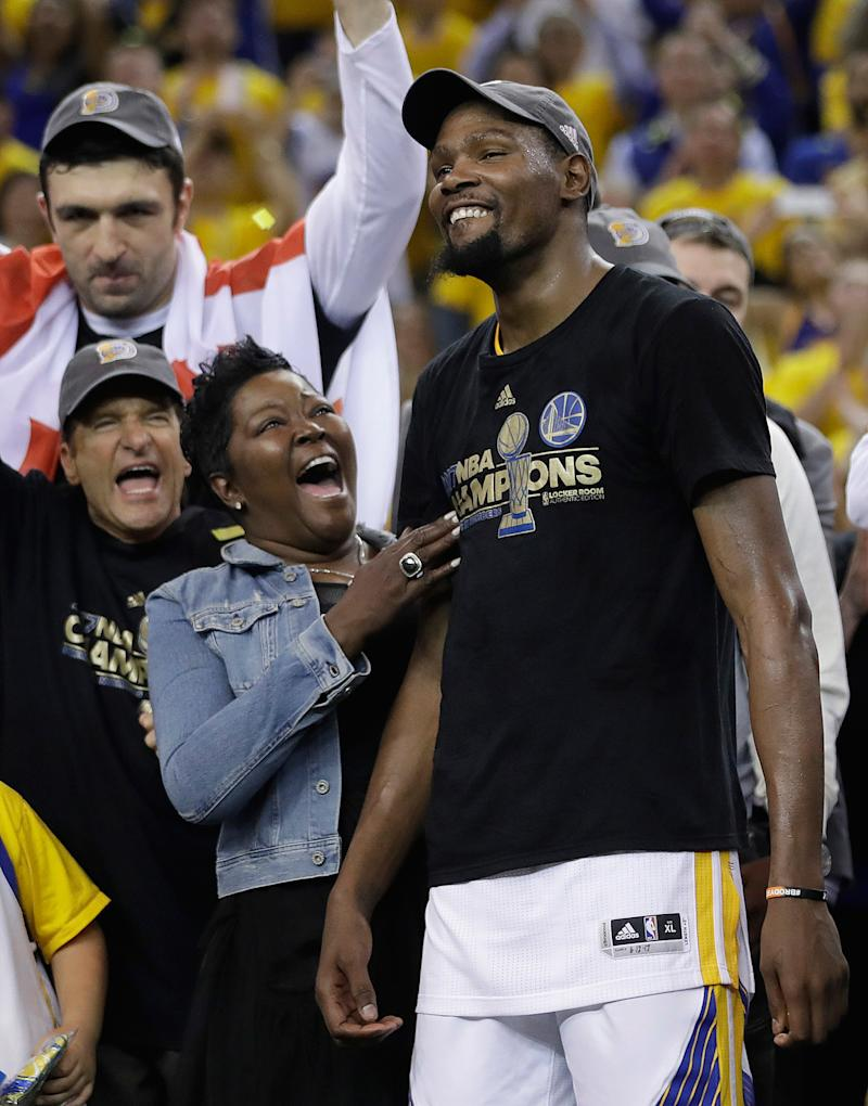 18b951b55dcc Mama s Boy! NBA Finals MVP Kevin Durant Shares Sweet Moment with Mother  After Victory