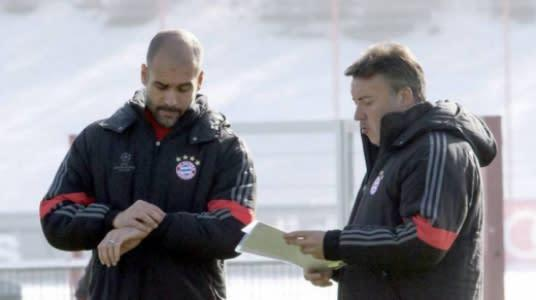 Pep Guardiola e Domènec Torrent nos tempos de Bayern de Munique