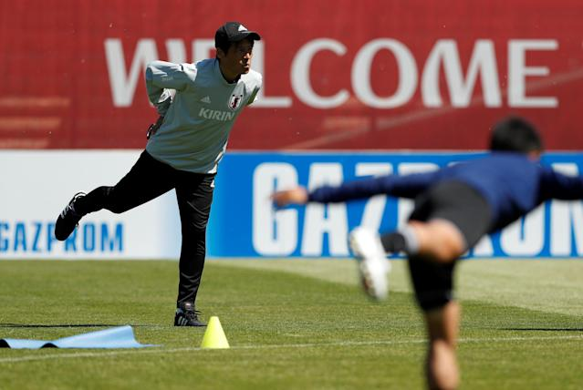Soccer Football - World Cup - Japan Training - Japan Training Camp, Kazan, Russia - June 17, 2018 Japan coach Akira Nishino during training REUTERS/John Sibley