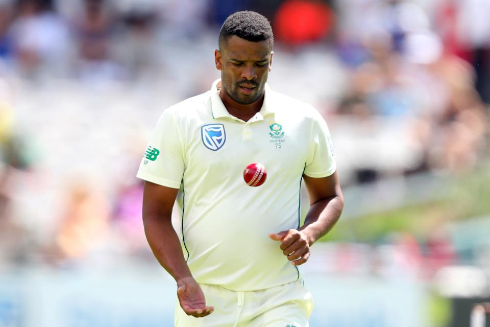 Pictured here,Vernon Philander readies to bowl in the 2nd Test against England at Newlands in 2020.