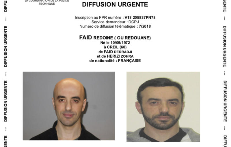 This two photos combo provided on Monday, July 2, 2018 by the AP on the condition that its source not be revealed shows a police notice with the portraits of notorious French criminal Redoine Faid who is wanted in connection with his escape from the Reau prison in France. Faid serving 25 years for murder made an audacious escape from prison Sunday after a helicopter carrying several heavily armed commandos landed in a courtyard, freed him from a visiting room and carried him away. (AP Photo)