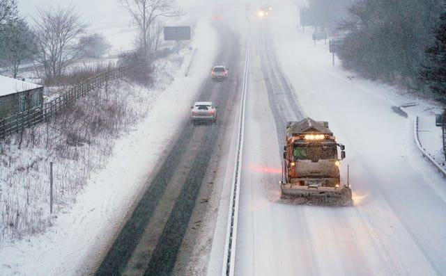 A snowplough in action