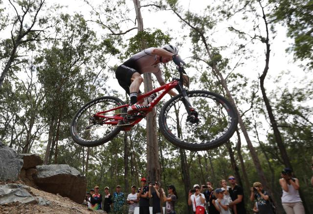 Cycling Cross-Country - Gold Coast 2018 Commonwealth Games - Mountain Bike - Men's Cross-Country - Nerang Mountain Bike Trails - Gold Coast, Australia - April 12, 2018. Anton Cooper of New Zealand. REUTERS/Paul Childs