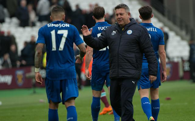Craig Shakespeare congratulates Danny Simpson after victory over West Ham - Copyright (c) 2017 Rex Features. No use without permission.
