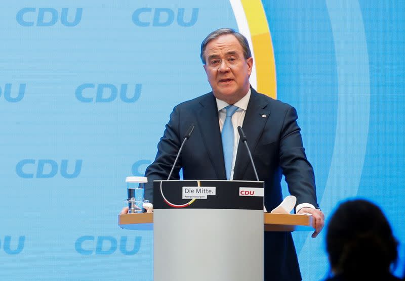 North Rhine-Westphalia's State Premier and head of Germany's CDU party Armin Laschet gives statement at the CDU headquarters in Berlin