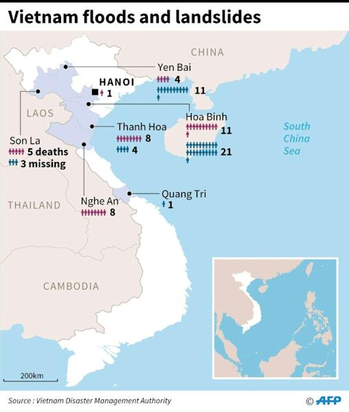 Map showing where people are missing or dead in Vietnam after floods and landslides this week