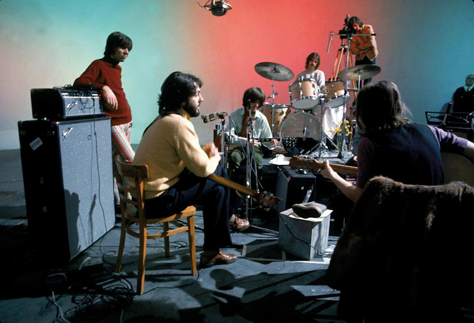 """The Beatles at Twickenham Studios, as seen in """"Get Back"""" - Credit: Ethan A. Russell / © Apple Corps Ltd."""