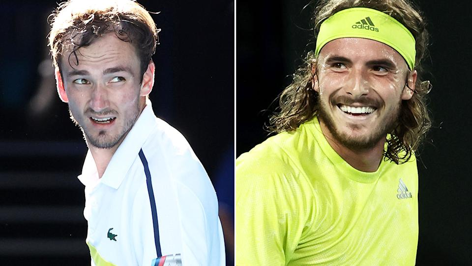Pictured here, Aus Open semi-final combatants Daniil Medvedev and Stefanos Tsitsipas.