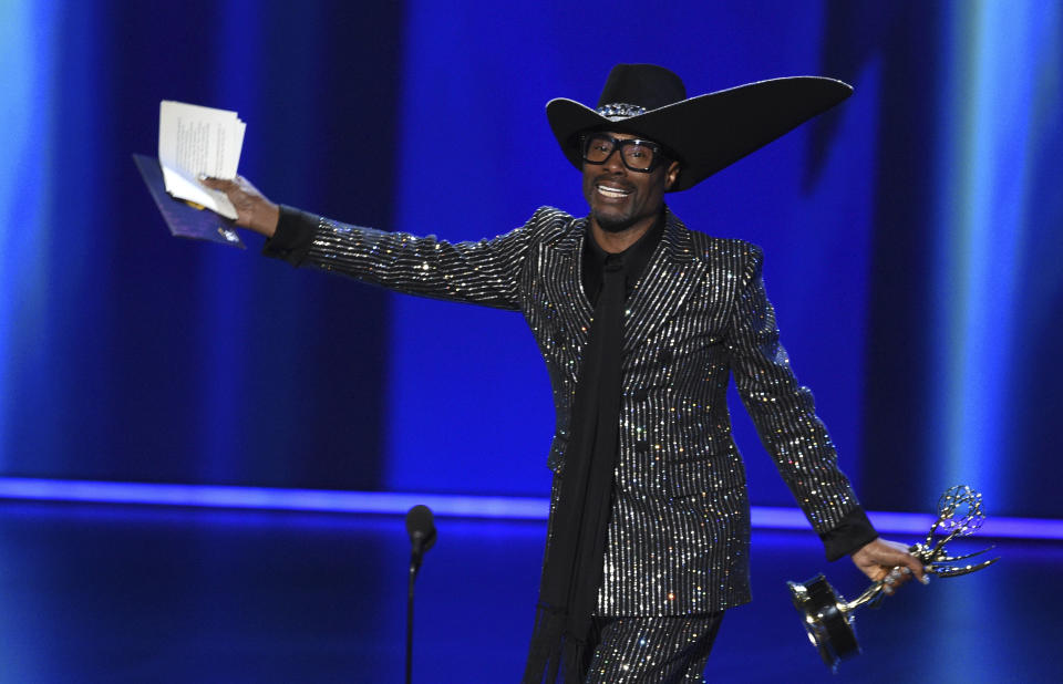 """Billy Porter accepts the award for outstanding lead actor in a drama series for """"Pose"""" at the 71st Primetime Emmy Awards on Sunday, Sept. 22, 2019, at the Microsoft Theater in Los Angeles. (Photo by Chris Pizzello/Invision/AP)"""