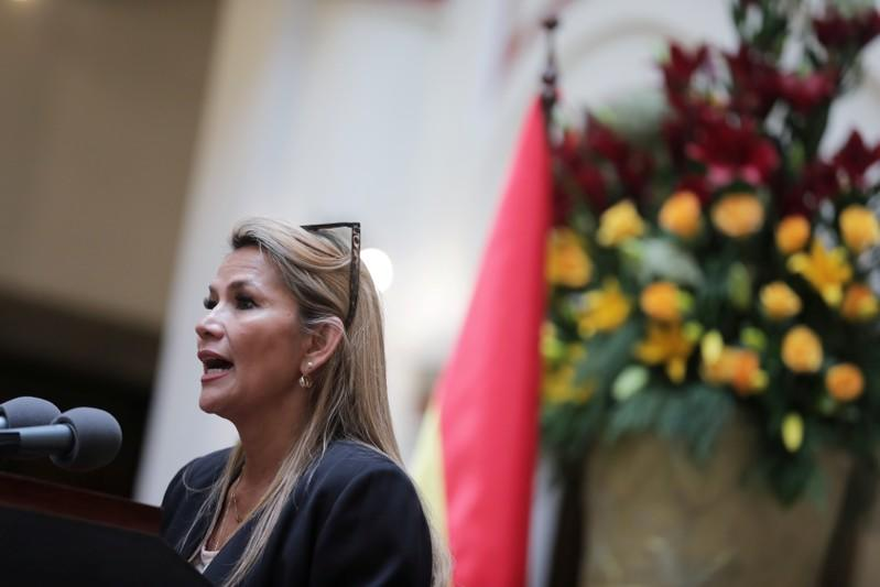 Bolivia's interim President Jeanine Anez speaks during a news conference at the presidential palace in La Paz