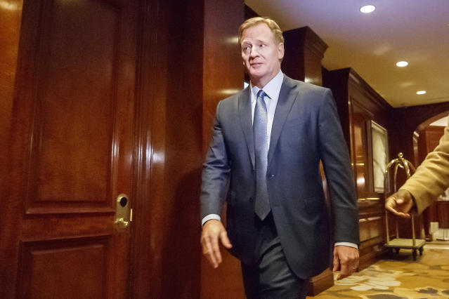 Commissioner Roger Goodell and the league's owners plan on discussing Wednesday the issue of NFL players protesting social injustice and racial inequalities. (AP)