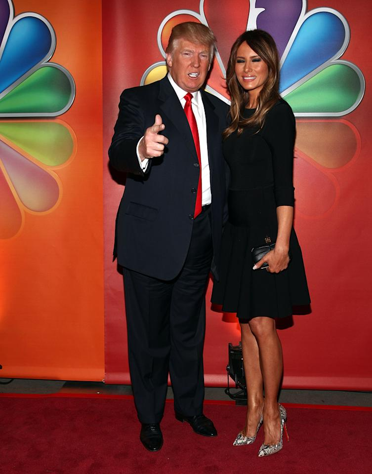 "Donald Trump (""Celebrity Apprentice"") and Melania Trump attend NBC's 2012 Upfront Presentation at 51st Street on May 14, 2012 in New York City."