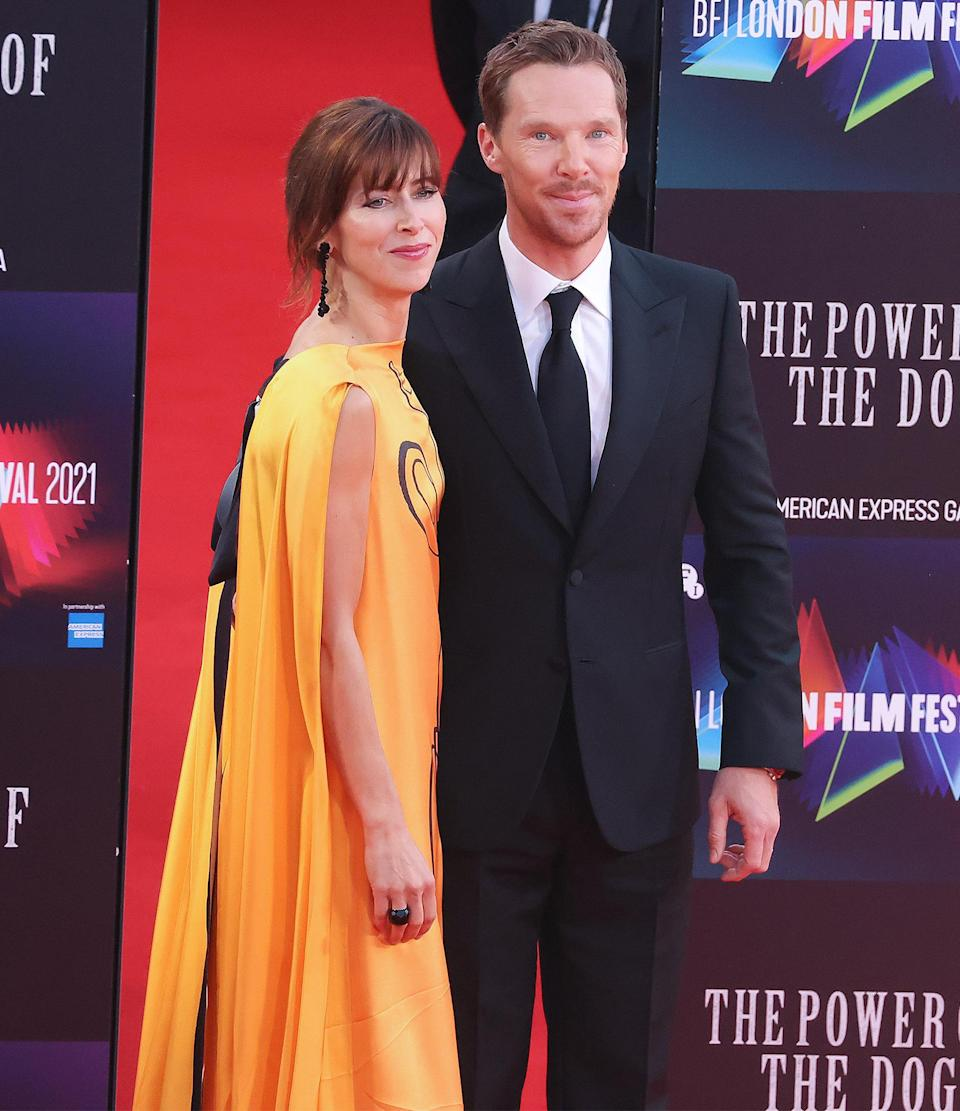 <p>Benedict Cumberbatch and Sophie Hunter attend <em>The Power of the Dog</em> premiere at The Royal Festival Hall on Oct. 11 in London.</p>
