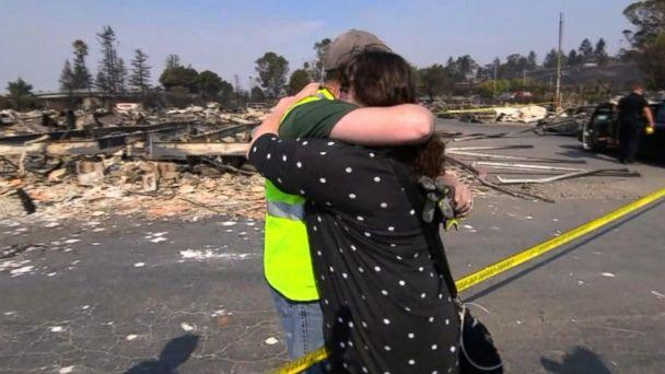 PHOTO: Bob Tunis and his sister, Jessica Tunis, embrace after discovering their mother's remains in Santa Rosa, Calif., Oct. 11, 2017. (ABC News)