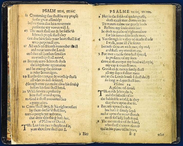 "RETRANSMISSION TO CORRECT THAT PURITANS NOT PILGRAMS PRINTED THE BOOK -This April 2013 photo provided by Sotheby's and taken in New York shows what they describe as 'the world's most valuable book,' the Bay Psalm Book, which is the first book ever printed in what is now the United States. The book was published in Cambridge, Mass., by the Puritan leaders of the Massachusetts Bay Colony. It came just 20 years after the Pilgrims landed at Plymouth Rock. The last time a copy came on the auction block in 1947, it sold for a record auction price of $151,000. At the time, it surpassed auction prices for the Gutenberg Bible, Shakespeare's First Folio and Audubon's ""Birds of America.""(AP Photo/Sotheby's)"