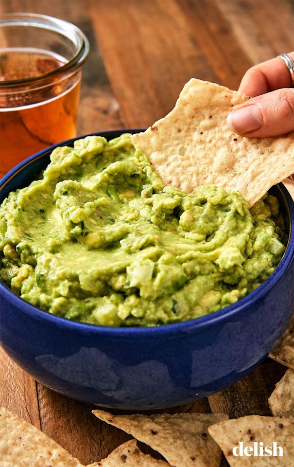 """<p>Sorry to tempt you with the chips, but this simple guac recipe is seriously so good-you'll be eating it by the spoonful!</p><p>Get the recipe from <a rel=""""nofollow"""" href=""""https://www.delish.com/cooking/recipe-ideas/recipes/a45570/best-ever-guacamole-recipe/"""">Delish</a>.</p>"""