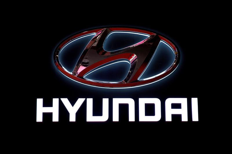 FILE PHOTO: The logo of Hyundai Motors is pictured at the second media day for the Shanghai auto show in Shanghai, China, April 17, 2019. REUTERS/Aly Song/File Photo
