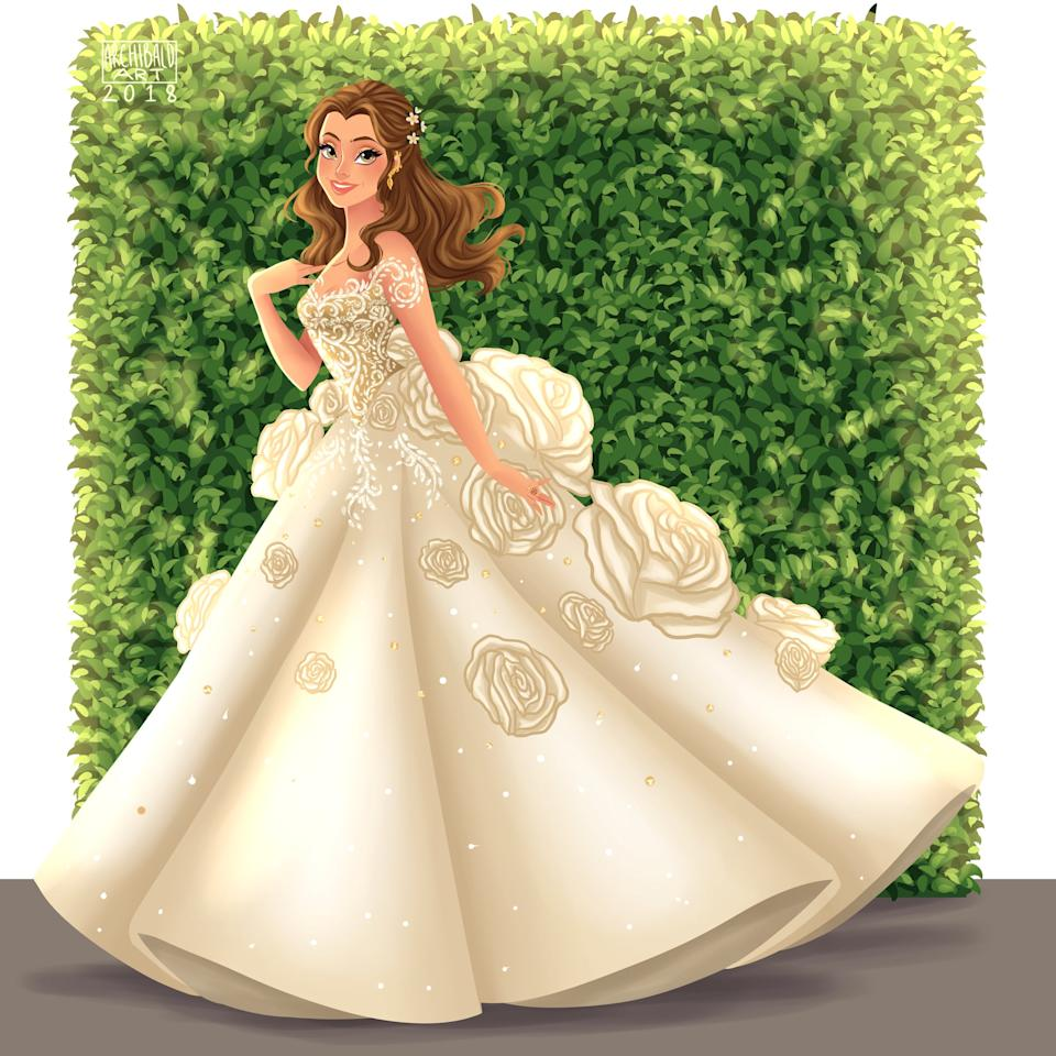 Belle's Dress Is Covered in Roses - a Perfect Pair!