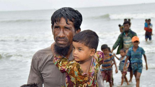 PHOTO: In this Sept. 8, 2017, file photo, Rohingya refugees arriving by boat near Cox's Bazar, Bangladesh, after fleeing Myanmar's strife-torn Rakhine State. (Kyodo via Newscom, FILE)