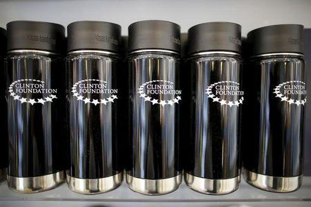 Clinton Foundation water bottles are seen for sale at the Clinton Museum Store in Little Rock