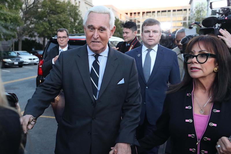 Roger Stone leaves court on the second day of his trial (Getty Images)