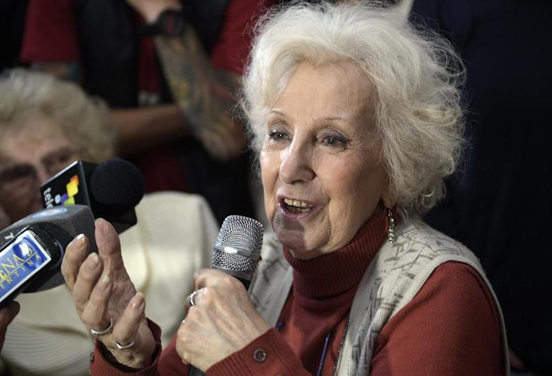 Estela de Carlotto, the president of Grandmothers of Plaza de Mayo, which seeks to reunite babies stolen during the regime (1976-1983) with their biological parents or relatives, announces the recovery of her grandson in Buenos Aires, August 5, 2014