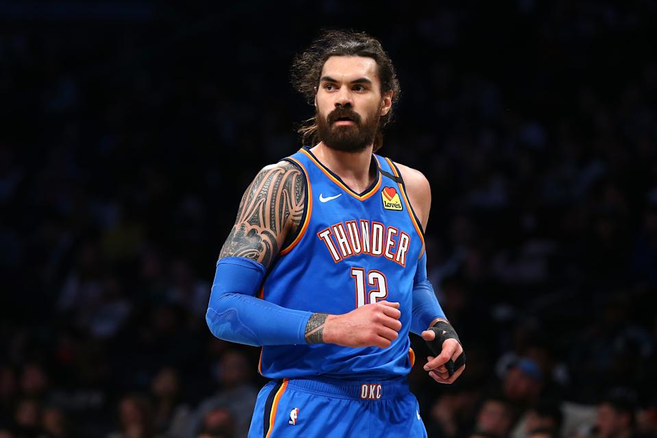 Steven Adams #12 of the Oklahoma City Thunder in action against the Brooklyn Nets at Barclays Center on January 07, 2020 in New York City. Oklahoma City Thunder defeated the Oklahoma City Thunder 111-103. NOTE TO USER: User expressly acknowledges and agrees that, by downloading and or using this photograph, User is consenting to the terms and conditions of the Getty Images License Agreement. (Photo by Mike Stobe/Getty Images)