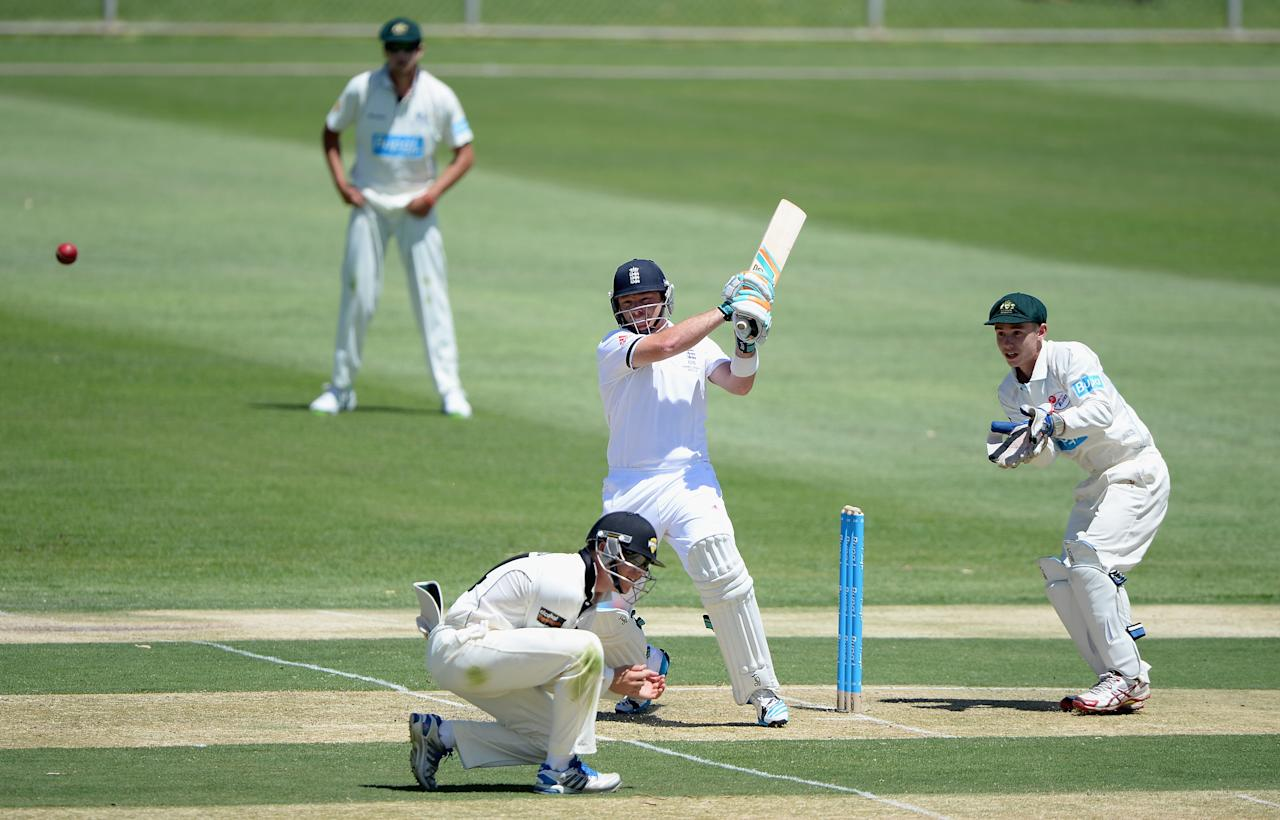 ALICE SPRINGS, AUSTRALIA - NOVEMBER 29:  Ian Bell of England bats during day one of the tour match between the Chairman's XI and England at Traeger Park on November 29, 2013 in Alice Springs, Australia.  (Photo by Gareth Copley/Getty Images)