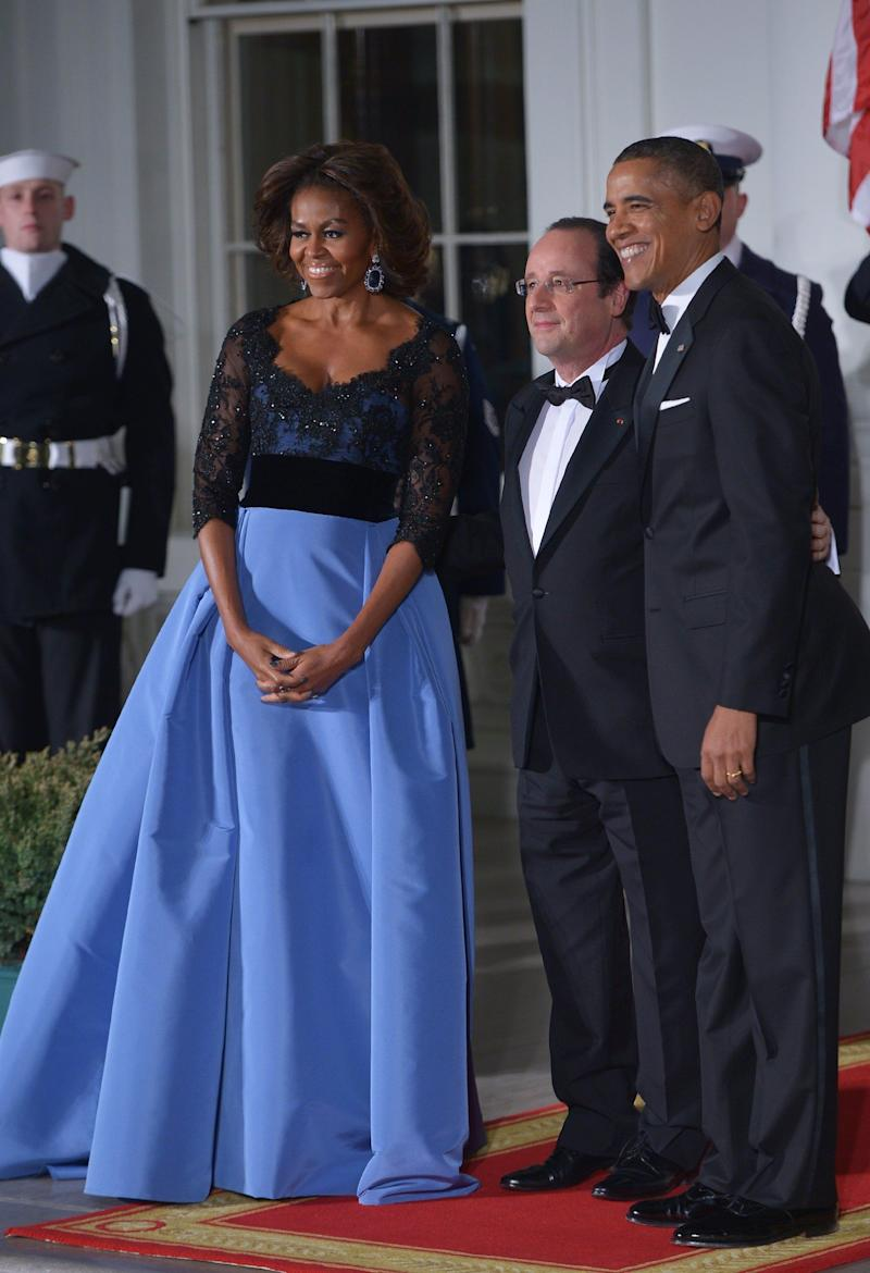 This Carolina Herrera gown, worn in 2014, was no doubt one of the former first lady's most striking ensembles.